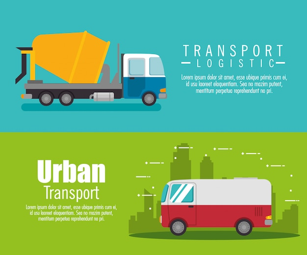 Delivery service truck banner set Free Vector