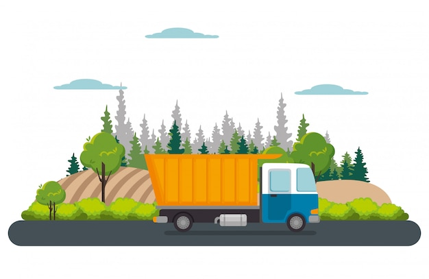 Delivery service truck isolated Free Vector