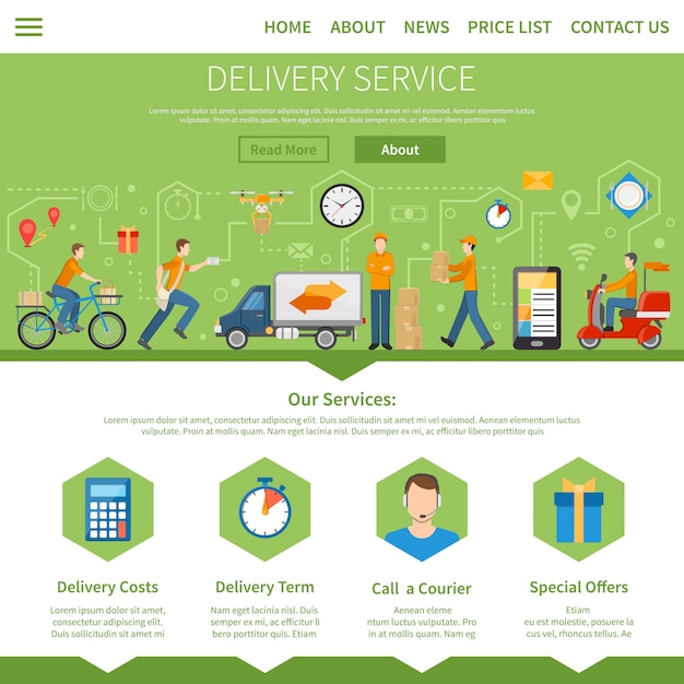 Delivery service web design Vector | Free Download
