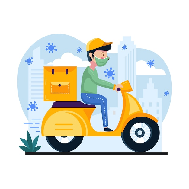 Delivery service with man on scooter Free Vector