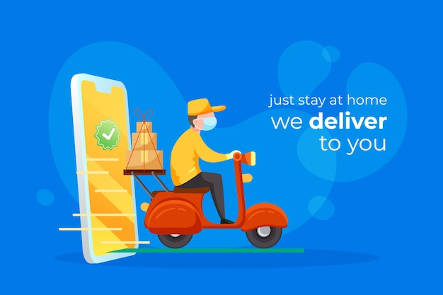 Delivery service with masks concept Free Vector