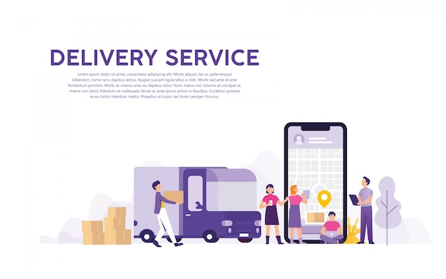 Delivery service with online order tracking Premium Vector