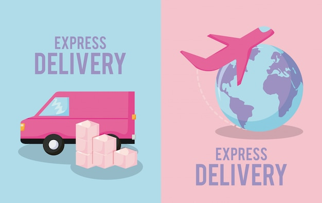 Delivery service with van car and airplane Premium Vector