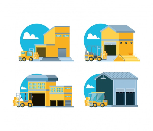 Delivery service with warehouse buildings Premium Vector