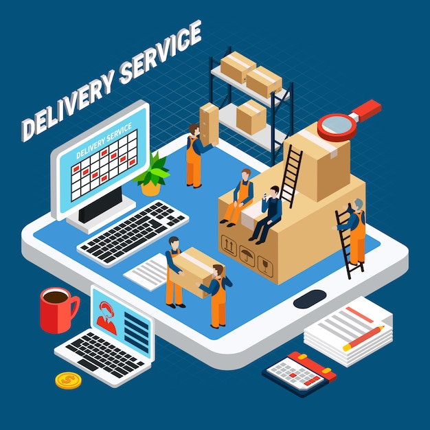 Delivery service workers on blue 3d isometric illustration Free Vector