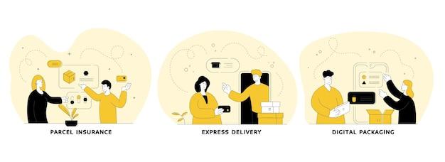배달 서비스 평면 선형 그림을 설정합니다. 소포 보험, 특급 배송, 디지털 포장. 온라인 쇼핑 모바일 애플리케이션입니다. 사람들이 만화 캐릭터 프리미엄 벡터