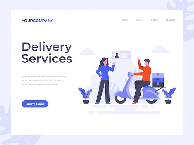 Delivery services landing page Premium Vector