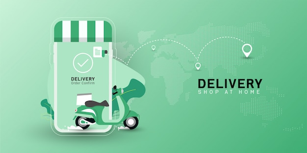 Delivery shop at home with motorcycle transport on mobile. Premium Vector
