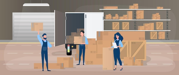 Delivery team. large warehouse. movers with boxes. the girl with the list. the concept of moving, transporting and delivering goods. . Premium Vector