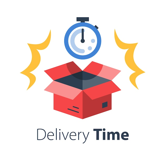 Premium Vector Delivery Time Fast Shipment Stopwatch And Open Box Postal Parcel Waiting Period Timely Distribution Courier Service Flat Illustration