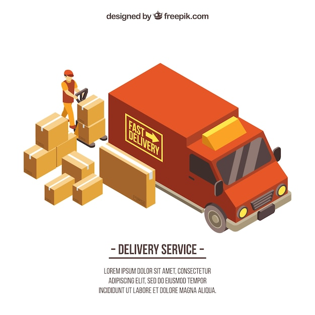 Delivery truck and boxes with isometric\ style