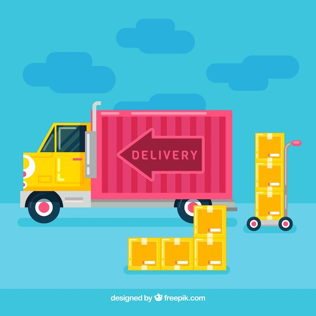 delivery truck and carton boxes vector free download
