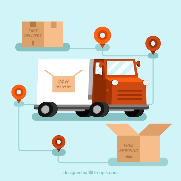 Delivery truck, carton boxes and\ locations