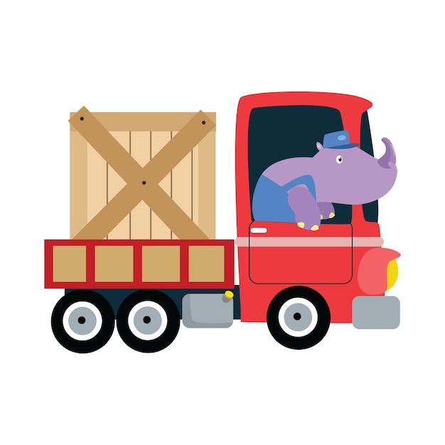 delivery truck cartoon illustration vector premium download