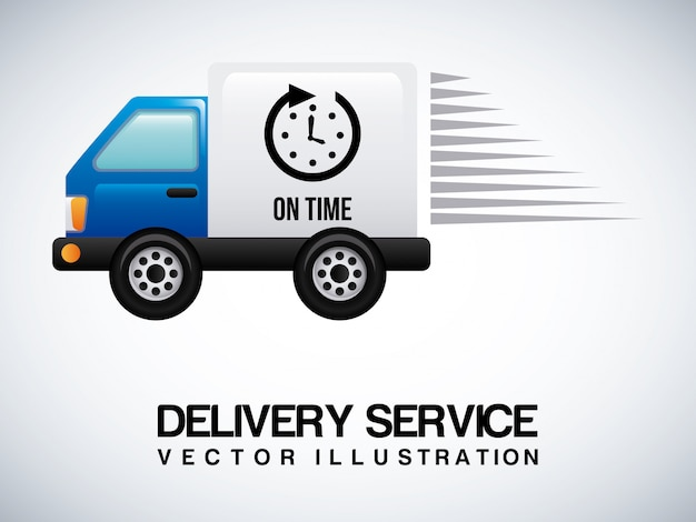 Delivery truck on gray Free Vector