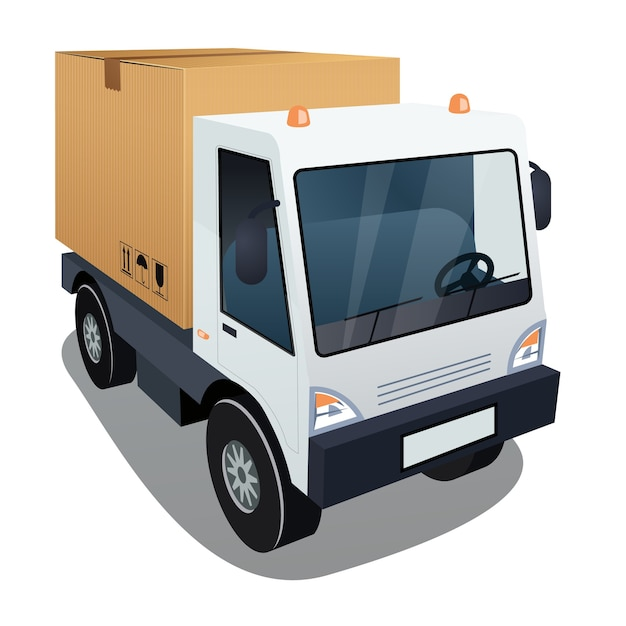 Delivery truck with a big box Free Vector