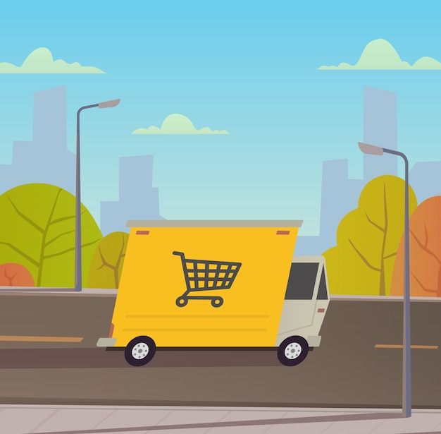Delivery truck with city landscape. Premium Vector