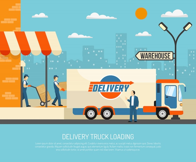 Delivery trucks illustration Free Vector