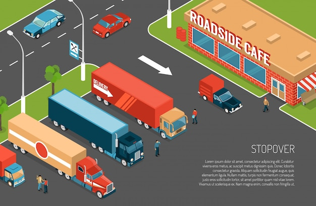 Delivery trucks stopover on parking zone near roadside cafe 3d Free Vector
