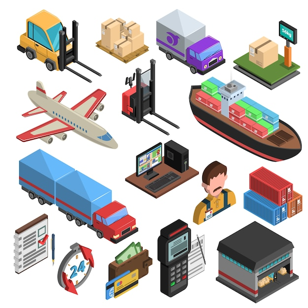 Delivery types isometric icons set Free Vector
