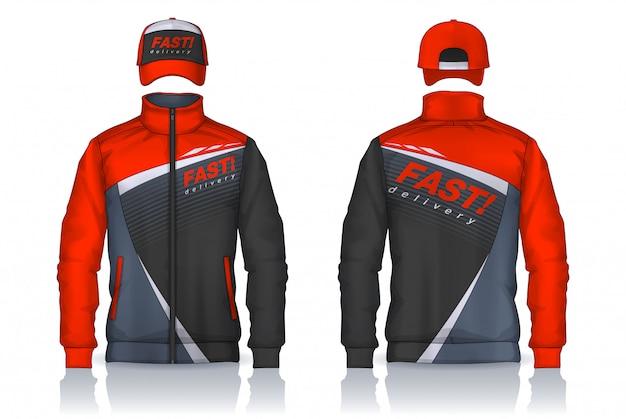 Delivery uniform,jacket and cap templates design, corporate work shirts. Premium Vector