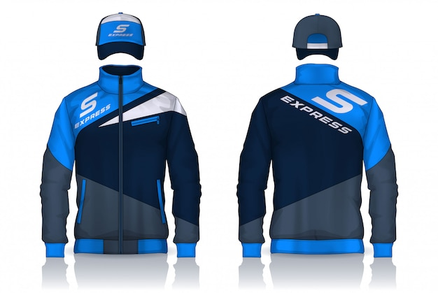 Delivery uniform,jacket and cap templates design, corporate work shirts. Premium Vector
