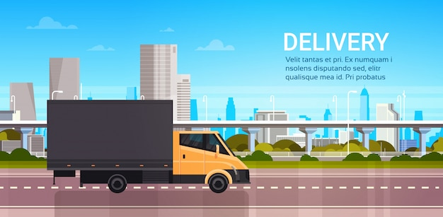 Delivery van over city. shipping transportation service truck concept Premium Vector
