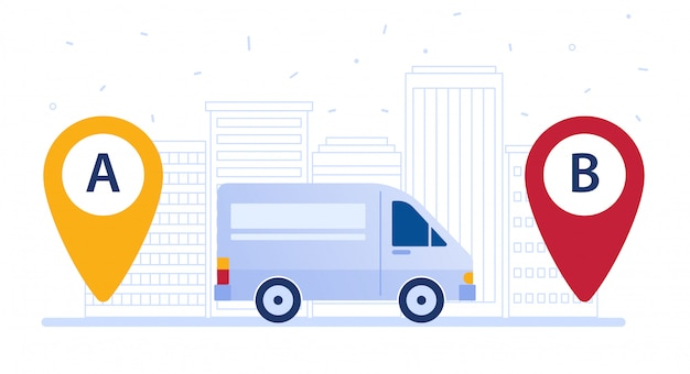 Delivery van shipping cargo according to delivery route. Premium Vector