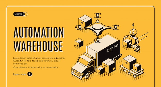 Delivery warehouse automation isometric website Free Vector