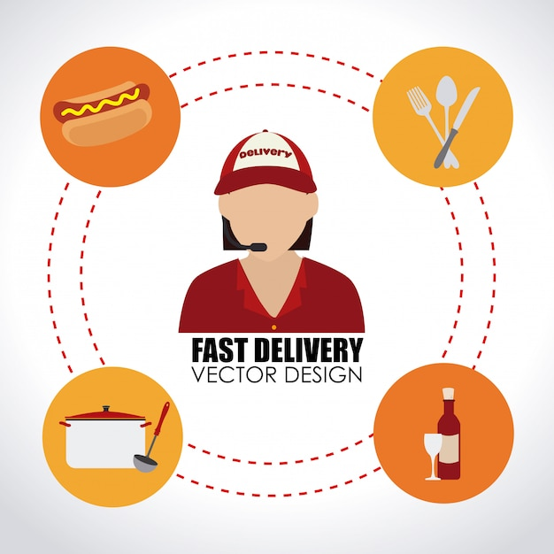 Delivery over white Free Vector