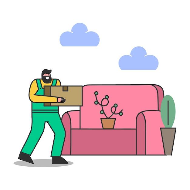 배달원은 집으로 이사하는 동안 포장 상자를 운반합니다. 집 이전을위한 수컷 로더 프리미엄 벡터