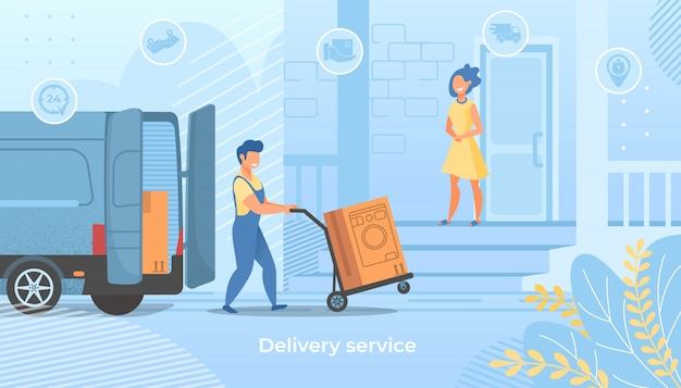 Delivery worker push trolley with washing machine Premium Vector