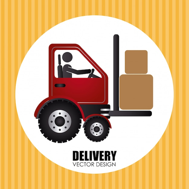 Delivery over yellow Free Vector