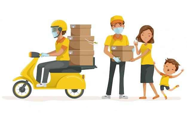 Доставка маску, держа коробку для мамы и сына. службы доставки водят мотоцикл. Premium векторы