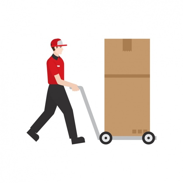 Deliveryman with a parcel Free Vector