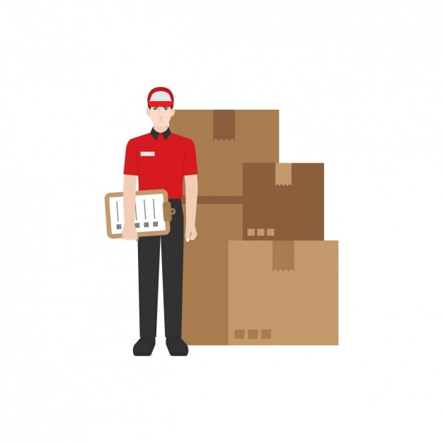 Deliveryman with parcels Free Vector