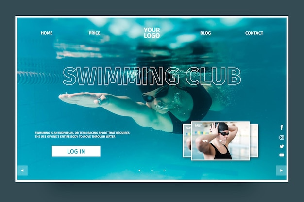 Deluxe swimming club landing page template Free Vector