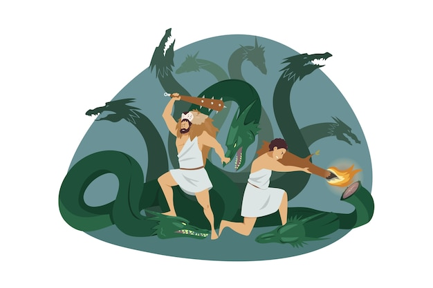 Demigod hero heracles or hercules son of zeus with charioteer iolaus fighting lernaean hydra as second labor of heracles Premium Vector