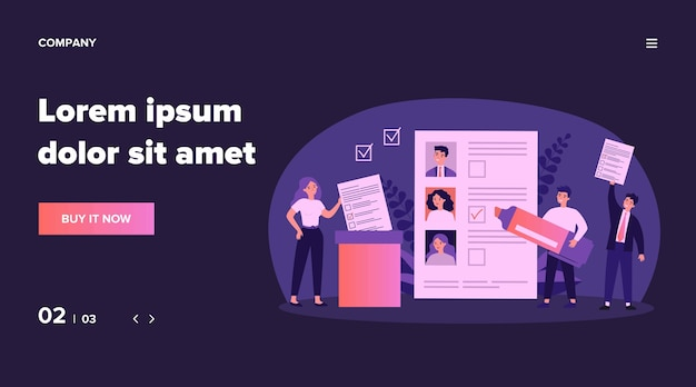 Иллюстрация выборов демократии. мультяшные граждане голосуют во время выборов, голосования или голосования. свобода, идеология общества и концепция конституции Premium векторы
