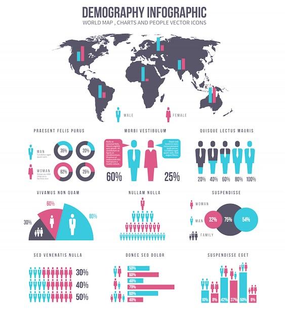 Demography infographic Premium Vector
