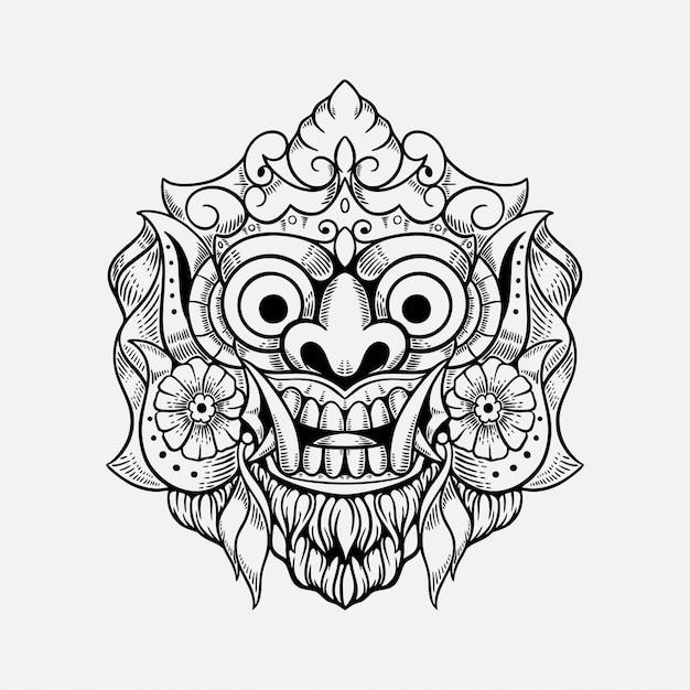 悪魔マスクバリインドネシアtシャツデザインイラスト Premiumベクター