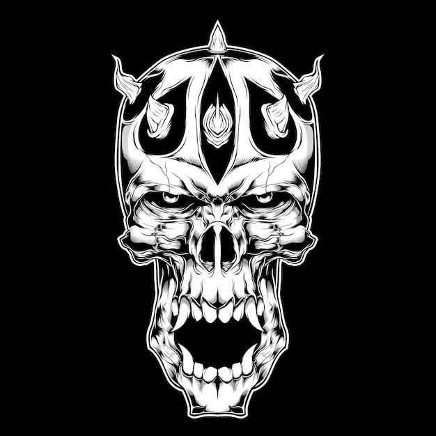 Demon,with horn hand drawing Premium Vector