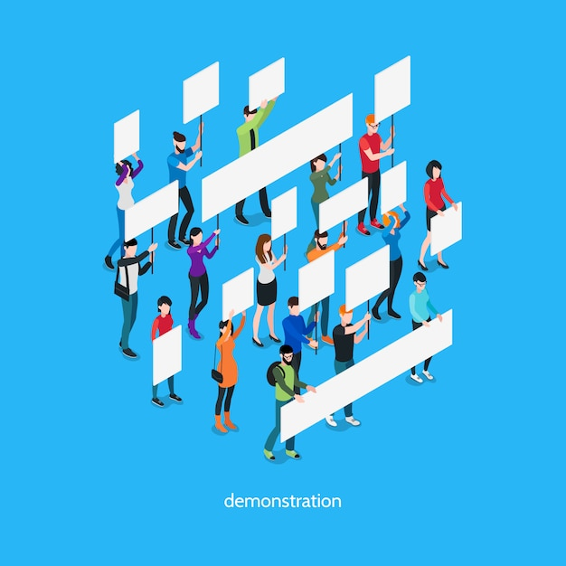 Demonstration isometric template Free Vector
