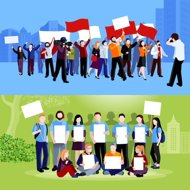 Demonstration protest people holding placards megaphones and flags and reporters with cameras on blue and green cityscape backgrounds flat isolated vector illustration Free Vector