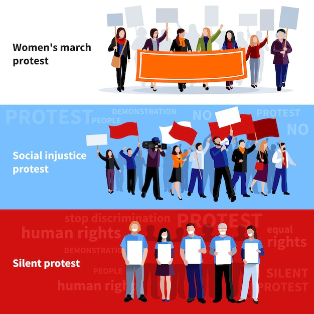 Demonstration womens march social injustice and silent protest people with megaphones Free Vector