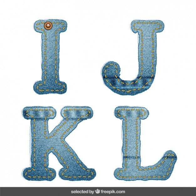 Denim alfabeto ijkl Vettore gratuito