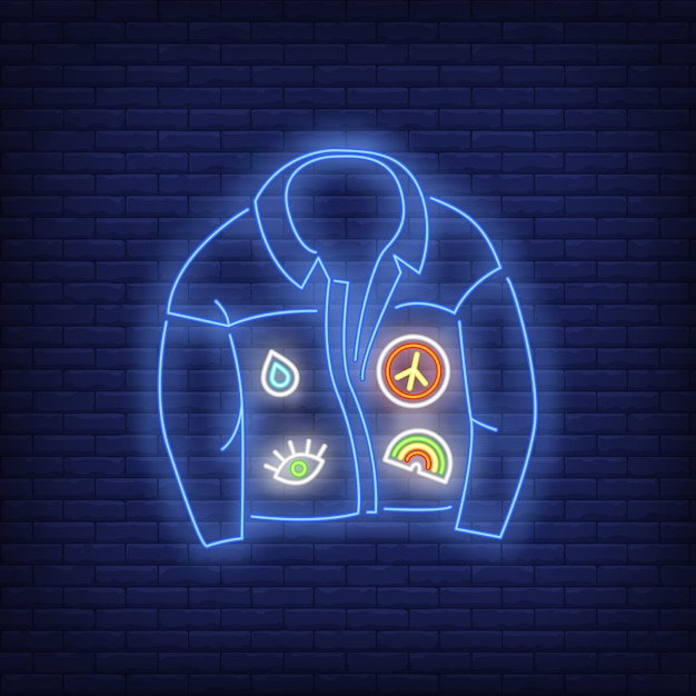 Denim coat neon sign Free Vector