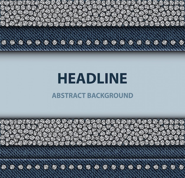 Denim design with sequin stripes Premium Vector