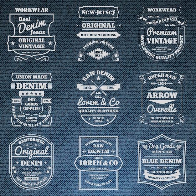 Denim jeans typography logo emblems set Free Vector