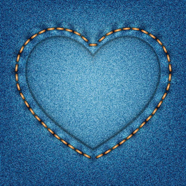 Denim texture with stitches in the shape of heart Premium Vector